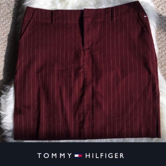 Tommy Hilfiger Dresses & Skirts - Vintage Tommy Hilfigure Burgundy Pinstripe Skirt